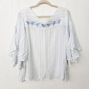 3 for $25 Zac & Rachel Embroidered Striped Blouse